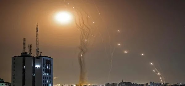 Israel's Iron Dome Anti Missile System in action against rockets fired by Hamas