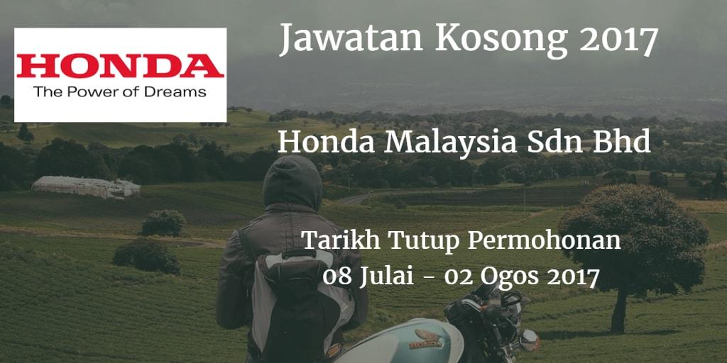 Jawatan Kosong Honda Malaysia Sdn Bhd 08 Julai - 02 Ogos 2017