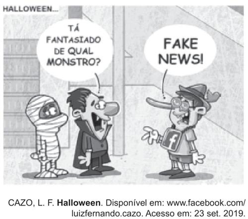 O cartum explora o uso de fantasias durante o Halloween, estabelecendo uma crítica em relação à