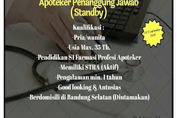 Lowongan Kerja Apoteker Penanggung Jawab Apotik Bandung