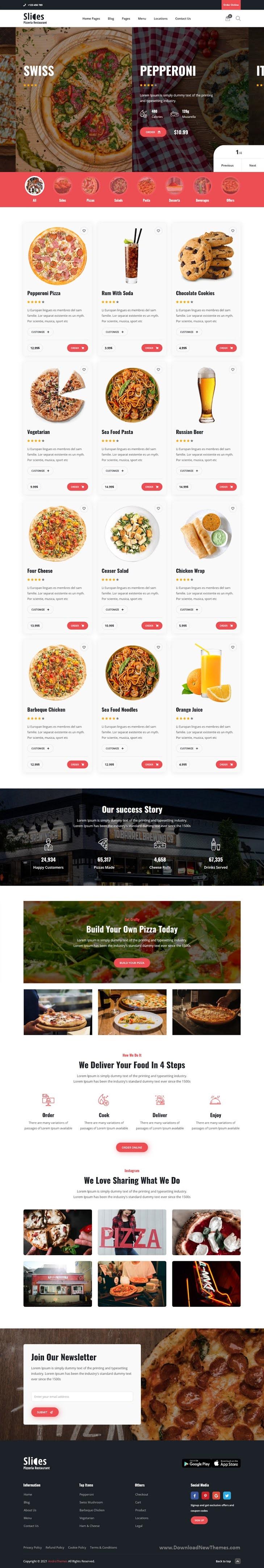 Pizza Restaurant React Template