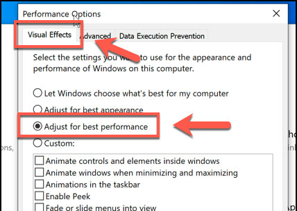 Optimize Windows for better performance or execution