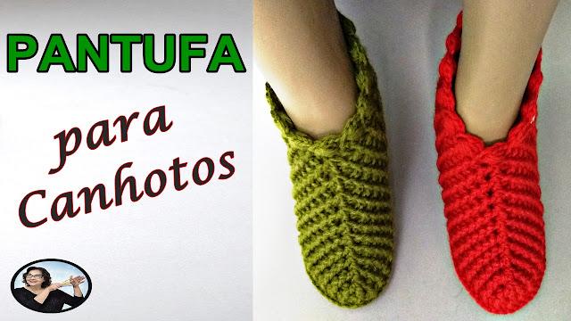 Como fazer pantufa em crochê fácil e linda para canhotos com Curso Edinir Croche Club Instagram Facebool Youtube
