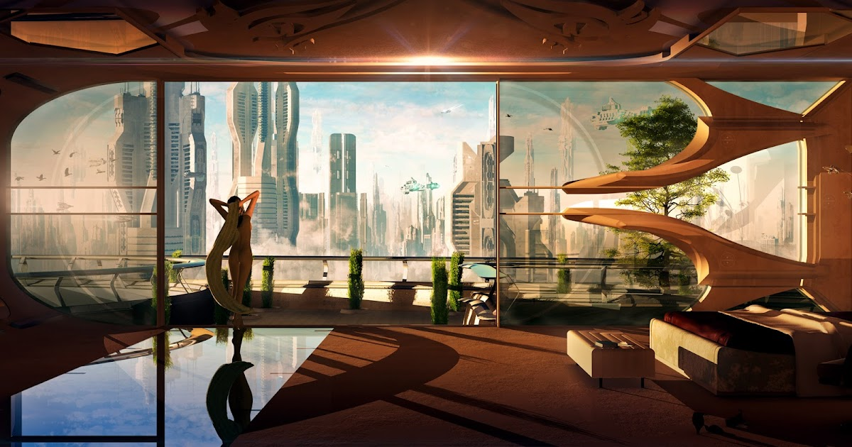 Morning at a futuristic city on Mars by Christian Hecker
