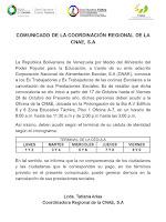 SAE Tachira convoca a los extrabajador@s de Cocinas Escolares a la cancelación de sus Prestaciones Sociales hasta el viernes #28OCT