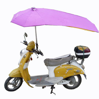 motorbike with an attached umbrella