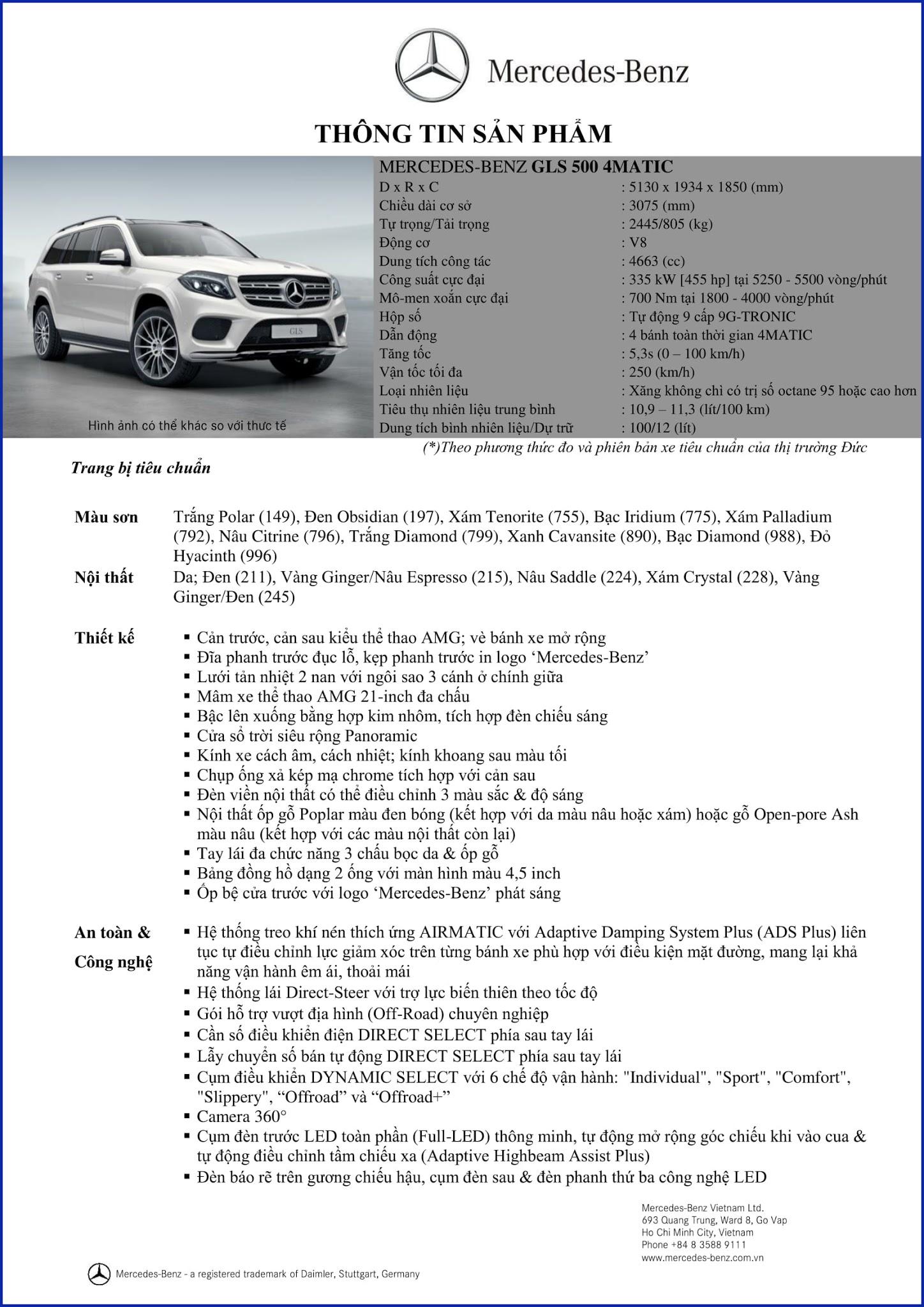 Bảng thông số kỹ thuật Mercedes GLS 500 4MATIC 2019 tại Mercedes Trường Chinh