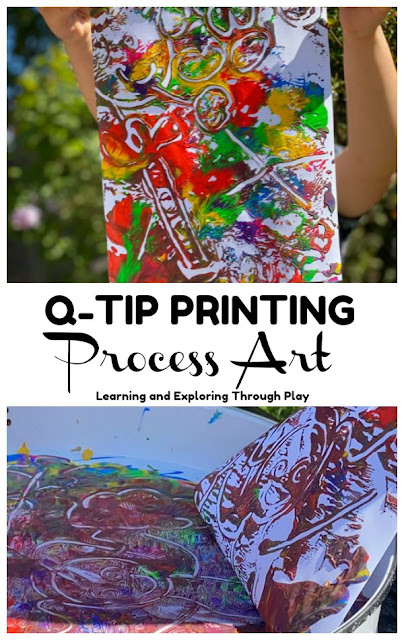 Paint Printing Process Art with Q-Tips