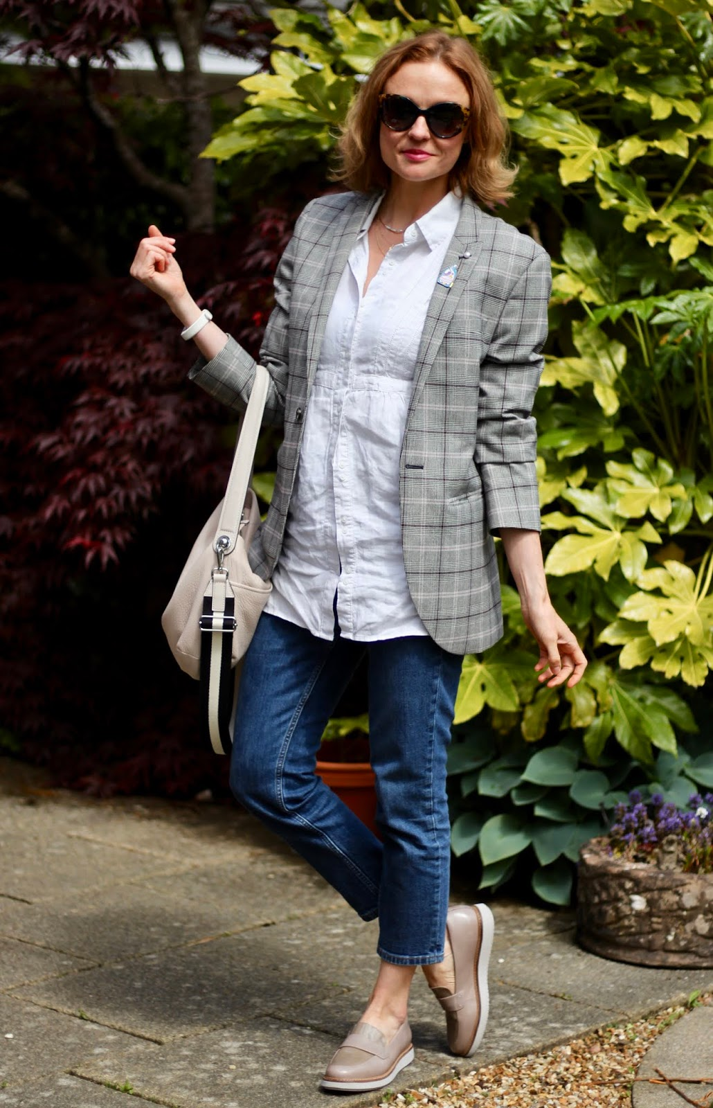 Checked Blazer, white shirt, jeans and loafers | Classic outfit | Fake Fabulous