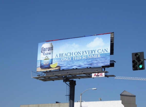Beach on every can Corona billboard