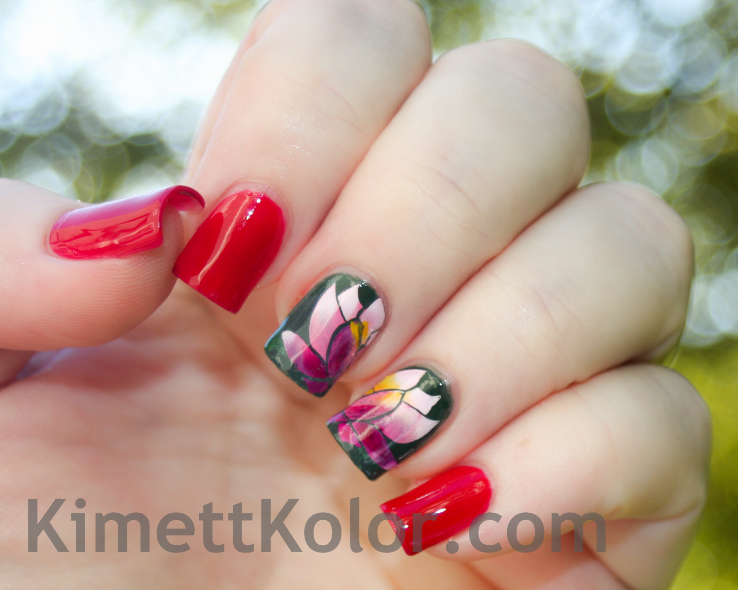 gradient stamping water lily nail art