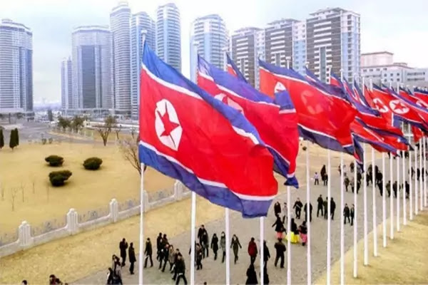 DPRK flages in downtown Pyongyang City