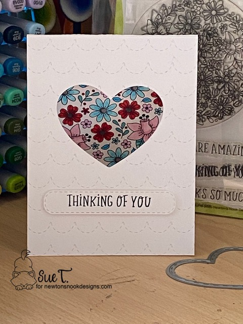 Thinking of you by Sue T. features Floral Roundabout, Darling Hearts, Banner Trio, and Circle Frames by Newton's Nook Designs; #newtonsnook, #inkypaws, #valentinescard