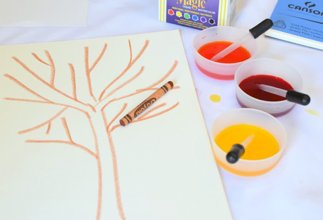 Eye Dropper Fall Tree Craft- develop fine motor skills with this beautiful autumn activity for preschool, kindergarten, or elementary.