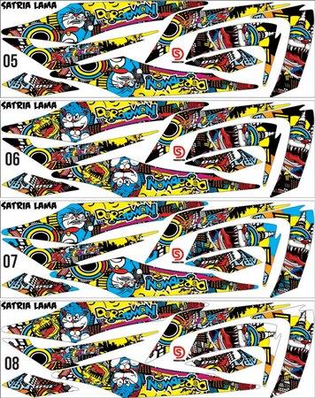 Strip suzuki Satria FU doraemon custom desain