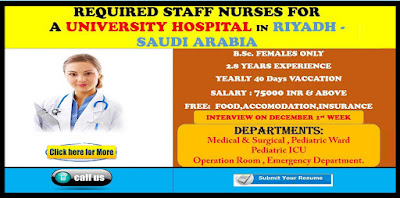 URGENTLY REQUIRED STAFF NURSES FOR UNIVERSITY HOSPITAL , RIYADH , SAUDI ARABIA