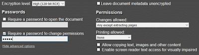 Togliere la possibilità di stampare il pdf
