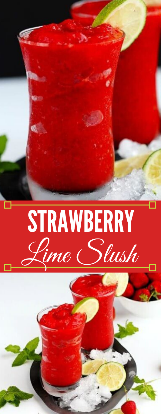 STRAWBERRY LIME SLUSH #drink #starwberry #party #sangria #cocktail