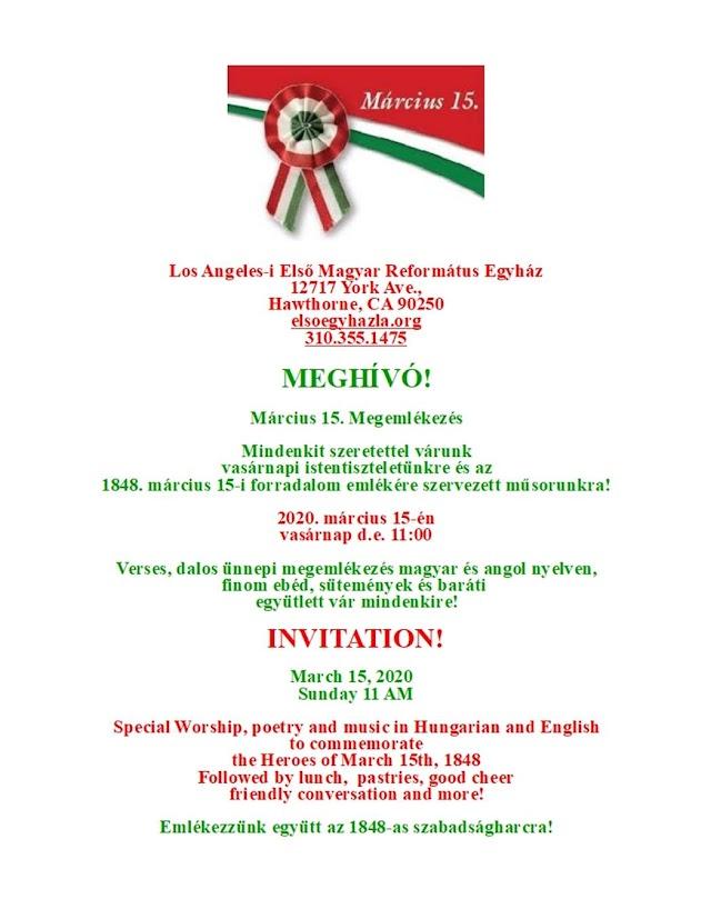 ELMARAD: 2020. március 15. vasárnap 11 óra - Istentisztelet és a Március 15. ünnepség