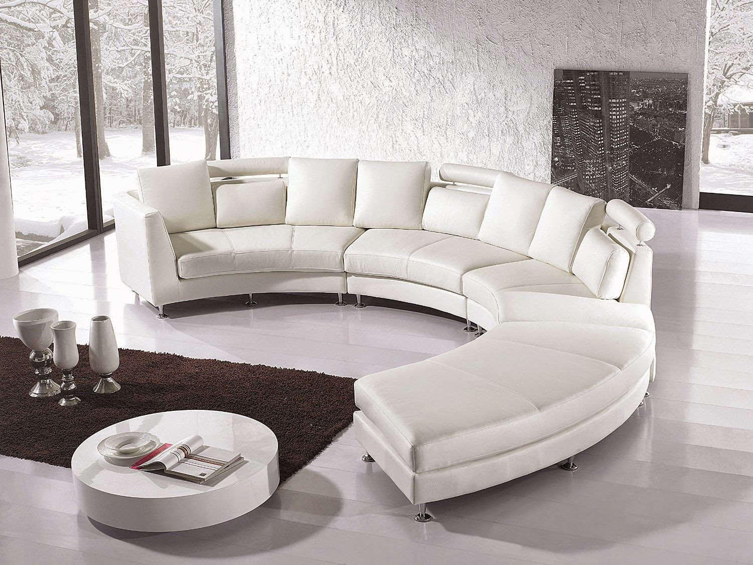 Beliani Rotunde Brown Curved Leather Sofa For