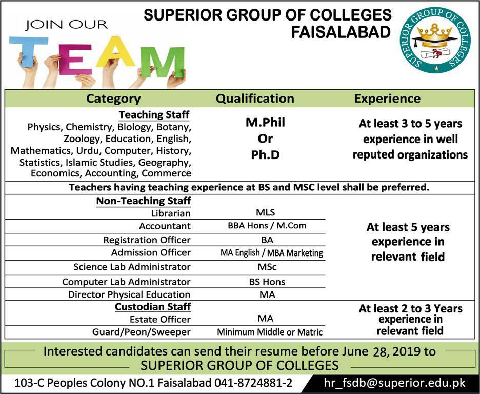 Jobs In Superior Group of Colleges Faisalabad June 2019