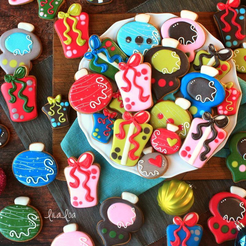Brightly colored Christmas sugar cookies -- ornaments and presents