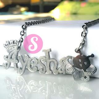 kalung nama monel silver grafir - ayesha