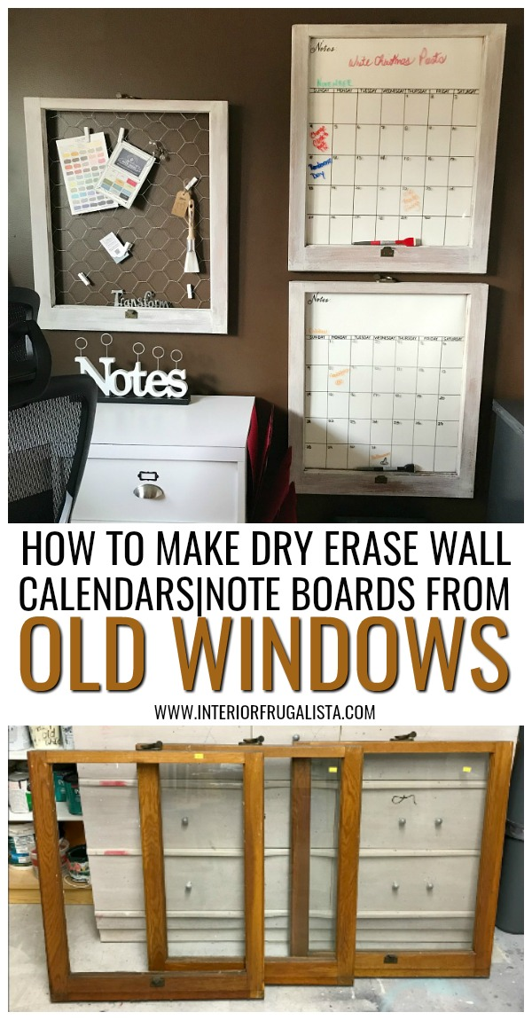 Repurposed Vintage Window Wall Organization