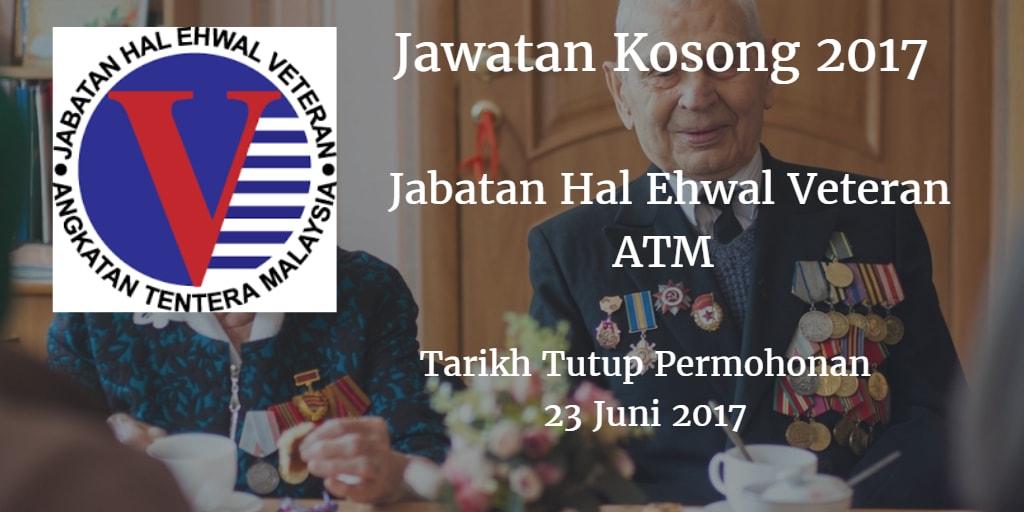 Jawatan Kosong Jabatan Hal Ehwal Veteran ATM 23 Juni 2017