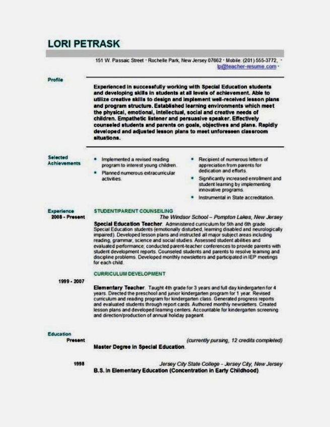resume template education teacher 655x847 - Resume Templates For Educators
