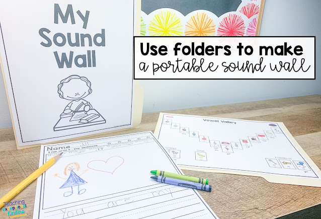 How to create a space-saving sound wall for your classroom.  Make the shift from word wall to sound wall and help students to become better writers with a sound wall in their writing folders.