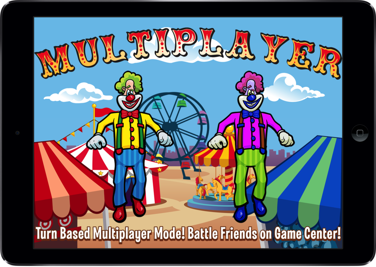 Laugh Clown iPad multiplayer promo art: 'Turn Based Multiplayer Mode! Battle friends on Game Center!'