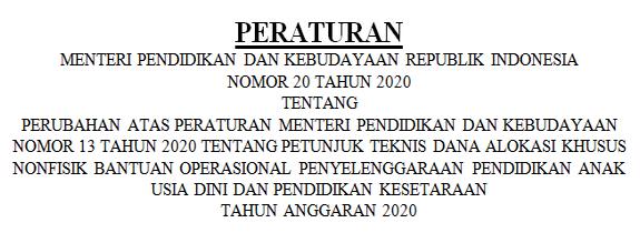 Permendikbud No 20 Tahun 2020