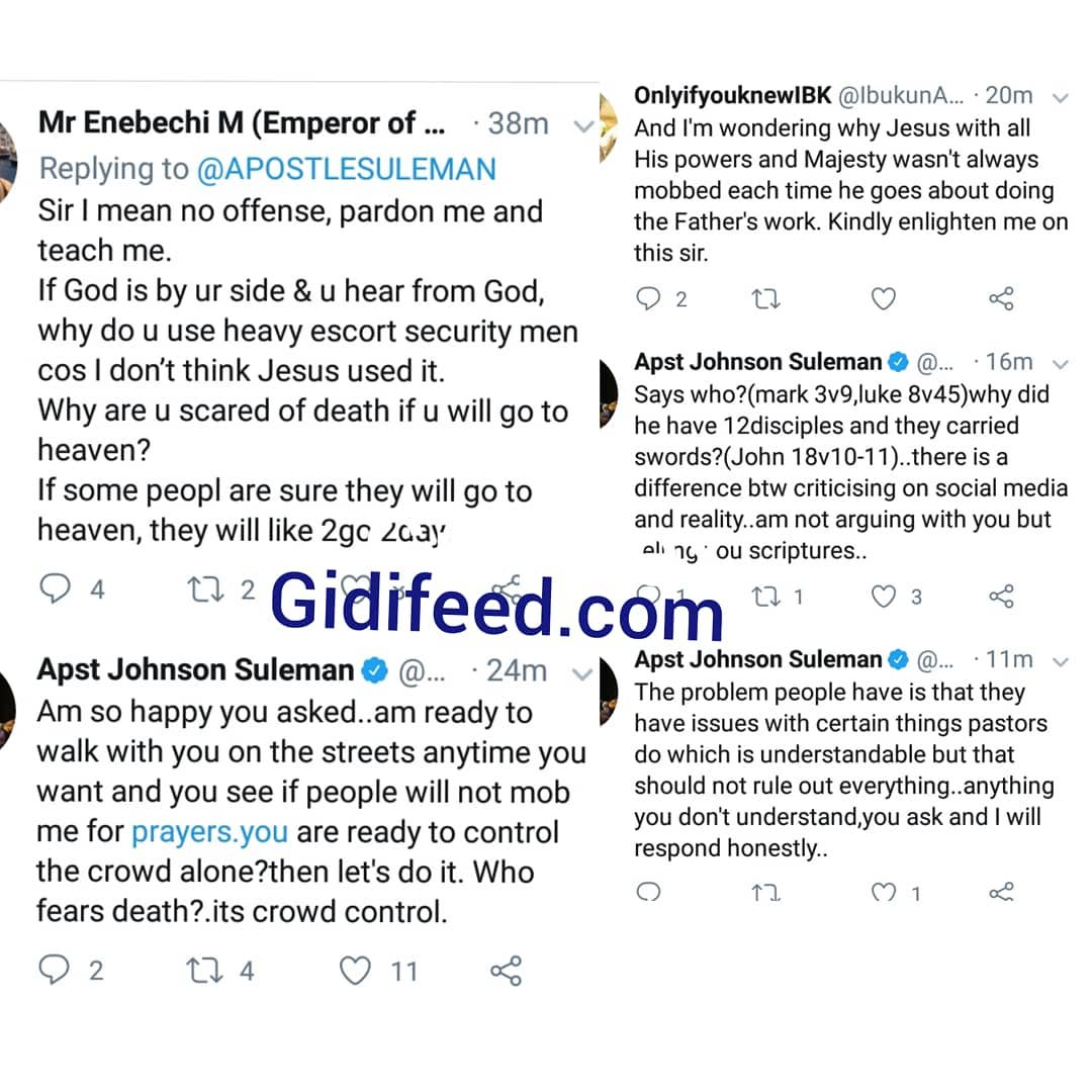 See Apst. Suleman Reply To A Fan Who Asked Why He Uses Heavy Security Escort 1