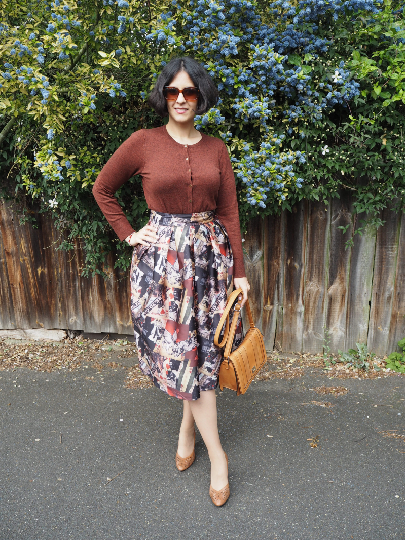 Full printed midi skirt