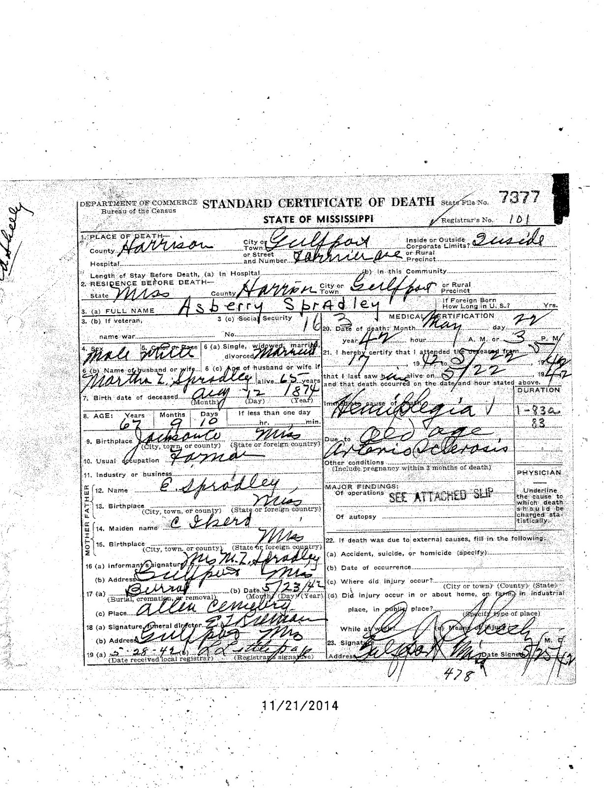 Spradley genealogy may 22 1942 death of asberry spradley on fournier avenue gulfport ms xflitez Images