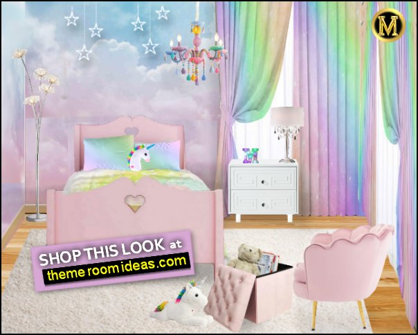 Dreamy Clouds Wallpaper Mural  Rainbow bedding rainbow pillows  Pink bedroom chair  Colorful Chandelier
