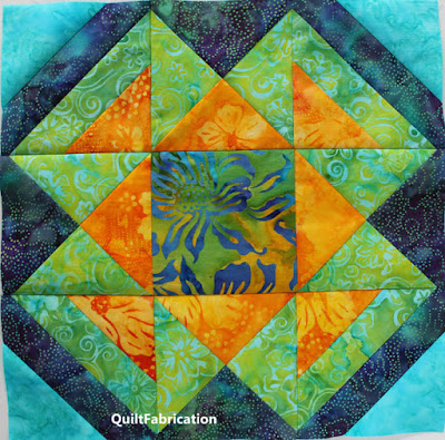 yellow green and teal quilt block