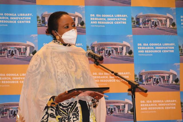 CS Sports Amb. Amina Mohamed at Mama Ida mbile libreary launch
