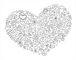 לב עם צורות להדפסה וצביעה