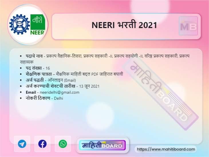 NEERI Bharti 2021