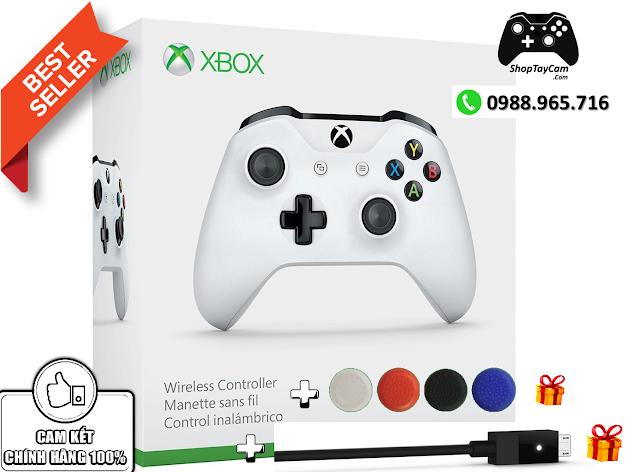 Tay Cầm Xbox One S Chính Hãng [TRẮNG] + Cáp Cable USB Chơi Game Tối Ưu Cho FO4 / FIFA / PC