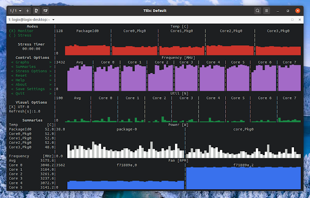 s-tui CPU monitoring tool for the Linux terminal