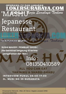 Walk In Interview Terbaru di Mashu Jepanesse Restaurant Surabaya Juni 2019