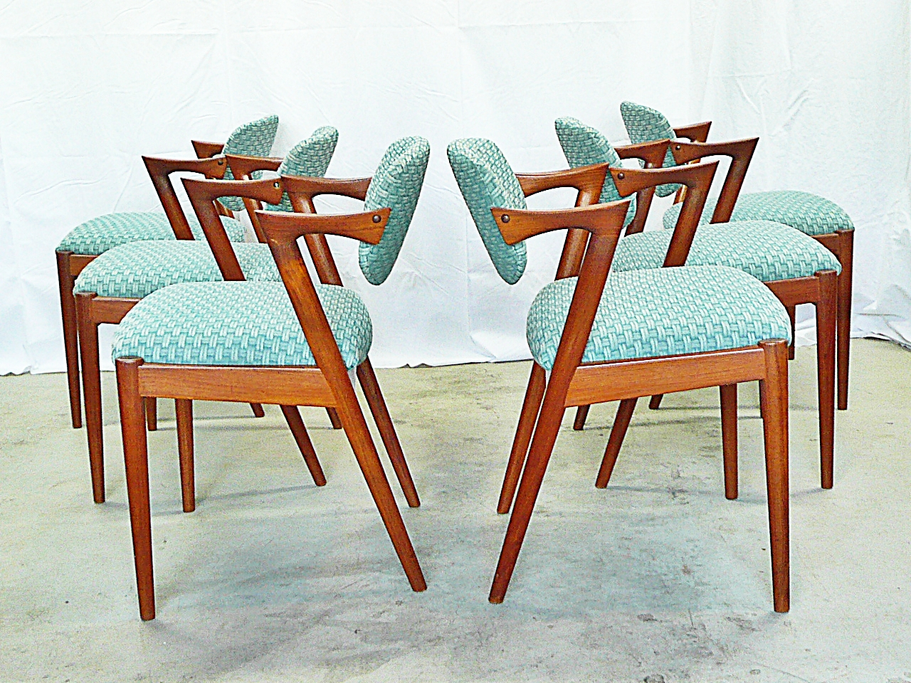 Mid Century Dining Chairs Green Leather Chair Modern Danish Vintage Furniture Shop Used