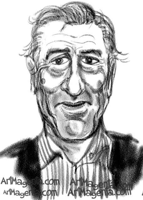 Robert De Niro  caricature cartoon. Portrait drawing by caricaturist Artmagenta.