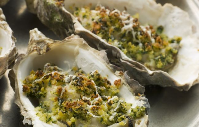 oysters au gratin with snail butter