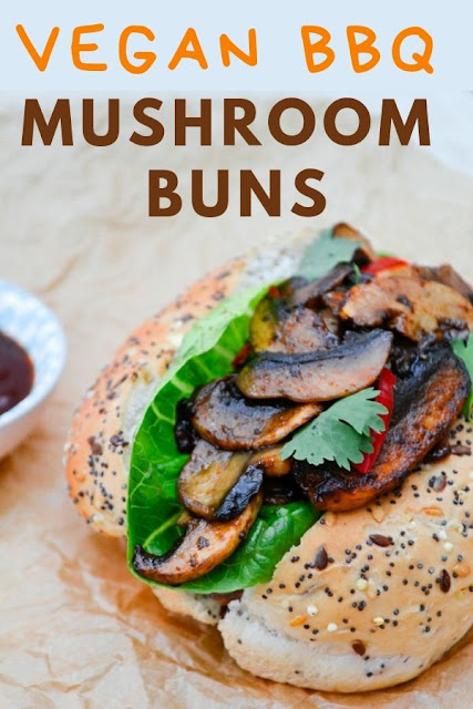 Smoky BBQ mushrooms in deli buns with lettuce leaves, red onion and chilli. The BBQ is the sauce not the cooking method. A satisfying lunch for lunchboxes or picnics. #sandwiches #mushroomsandwich #BBQsandwich #vegetariansandwich #lunchbox #BBQmushrooms