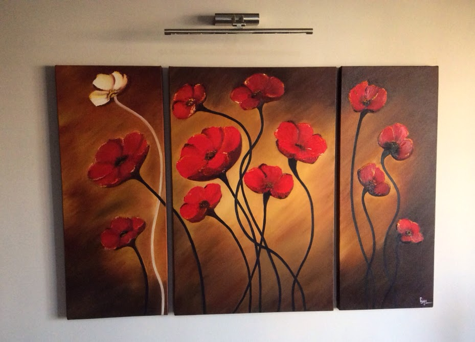 Floral canvas painting done during an art workshop conducted by Manju Panchal