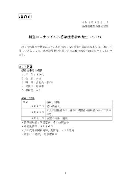 新型コロナウイルス感染症患者の発生について(9月21日発表)